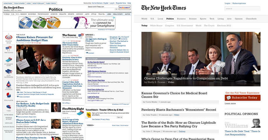 Redesign New York Times online od Andyho Rutledge