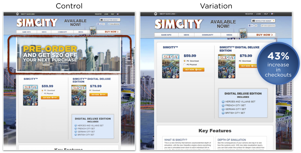 AB test SimCity landing page