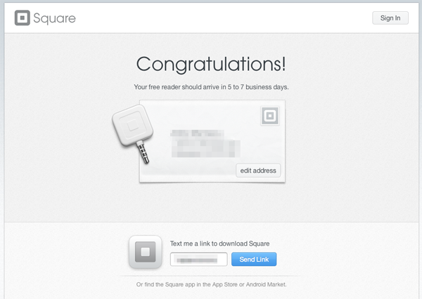 Square thank you page