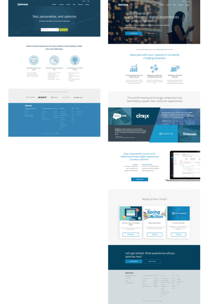 Optimizely varianty homepage