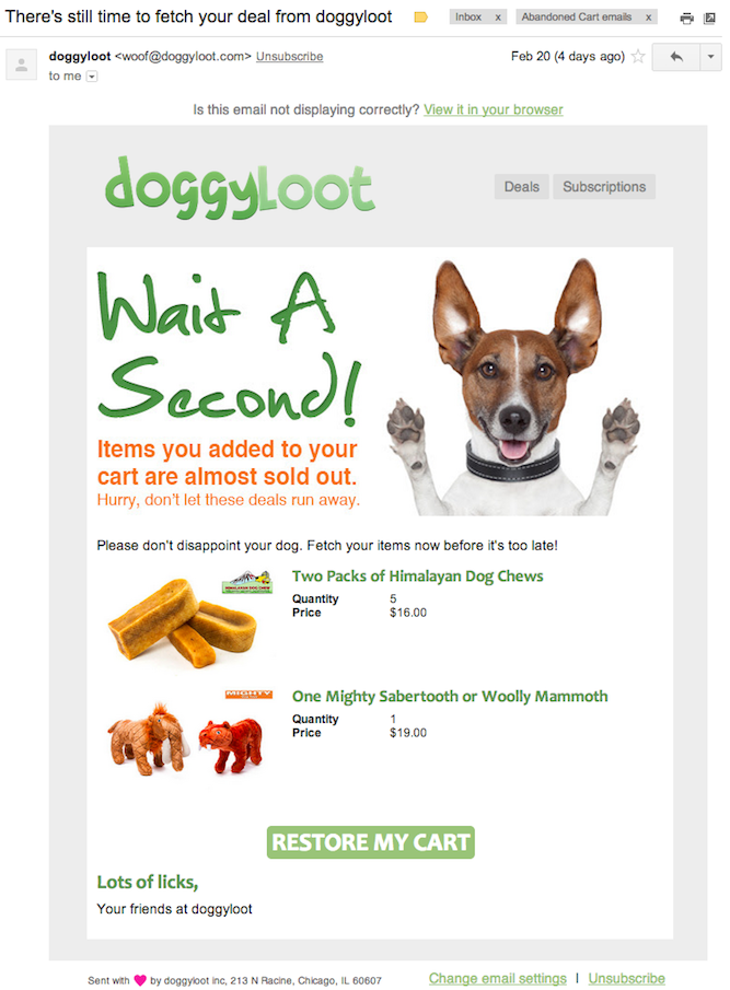 Doggyloot email